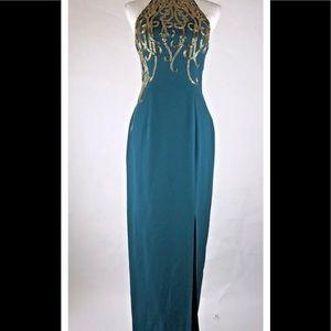 Alyce Paris Designs Sz6 Emerald Green Beaded Gown